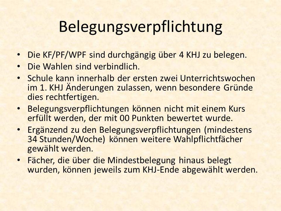 Belegungsverpflichtung Die KF/PF/WPF sind durchgängig über 4 KHJ zu belegen. Die Wahlen sind verbindlich. Schule kann innerhalb der ersten zwei Unterr