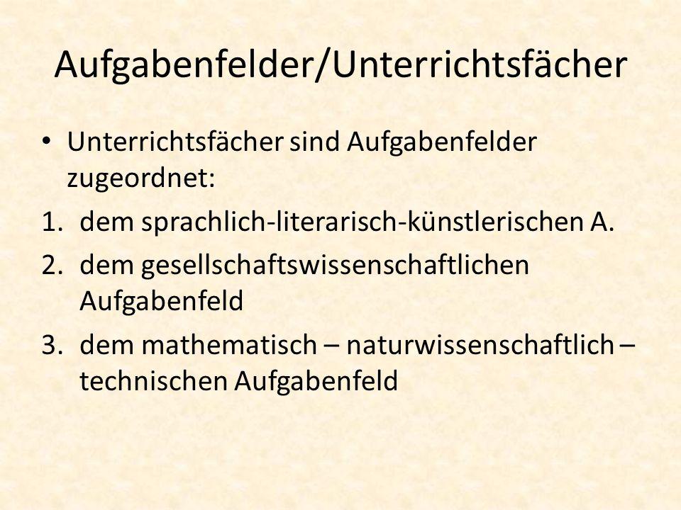 Aufgabenfelder/Unterrichtsfächer Unterrichtsfächer sind Aufgabenfelder zugeordnet: 1.dem sprachlich-literarisch-künstlerischen A. 2.dem gesellschaftsw