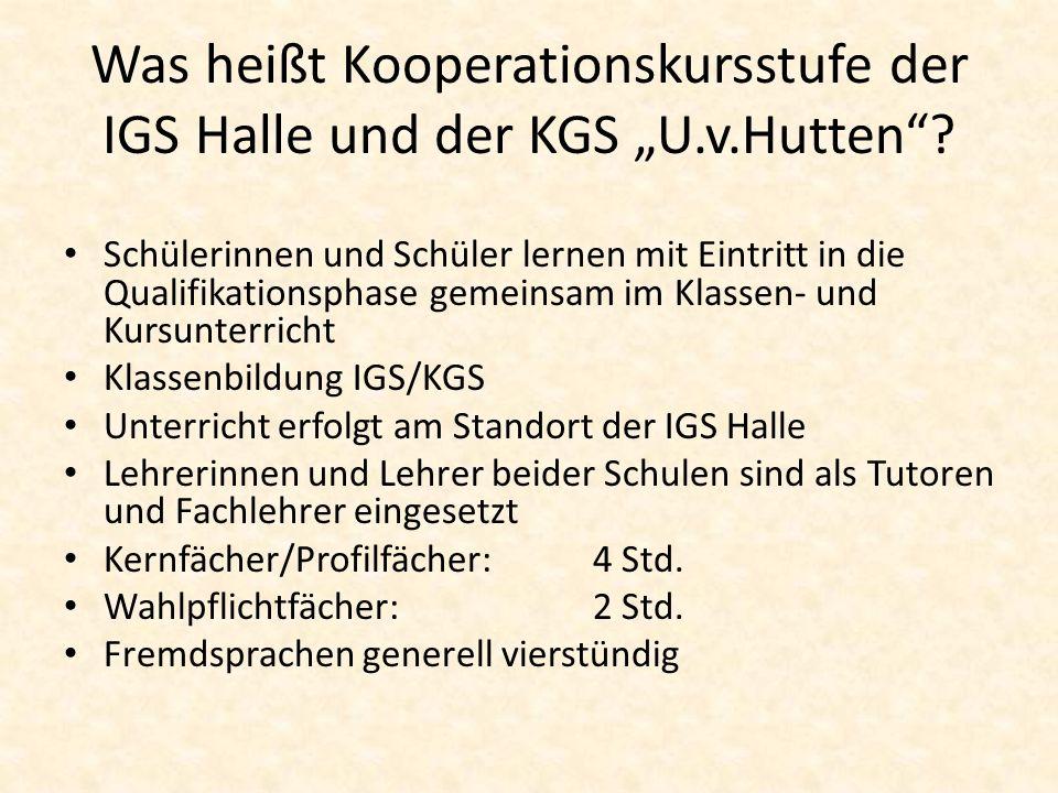 Was heißt Kooperationskursstufe der IGS Halle und der KGS U.v.Hutten? Schülerinnen und Schüler lernen mit Eintritt in die Qualifikationsphase gemeinsa
