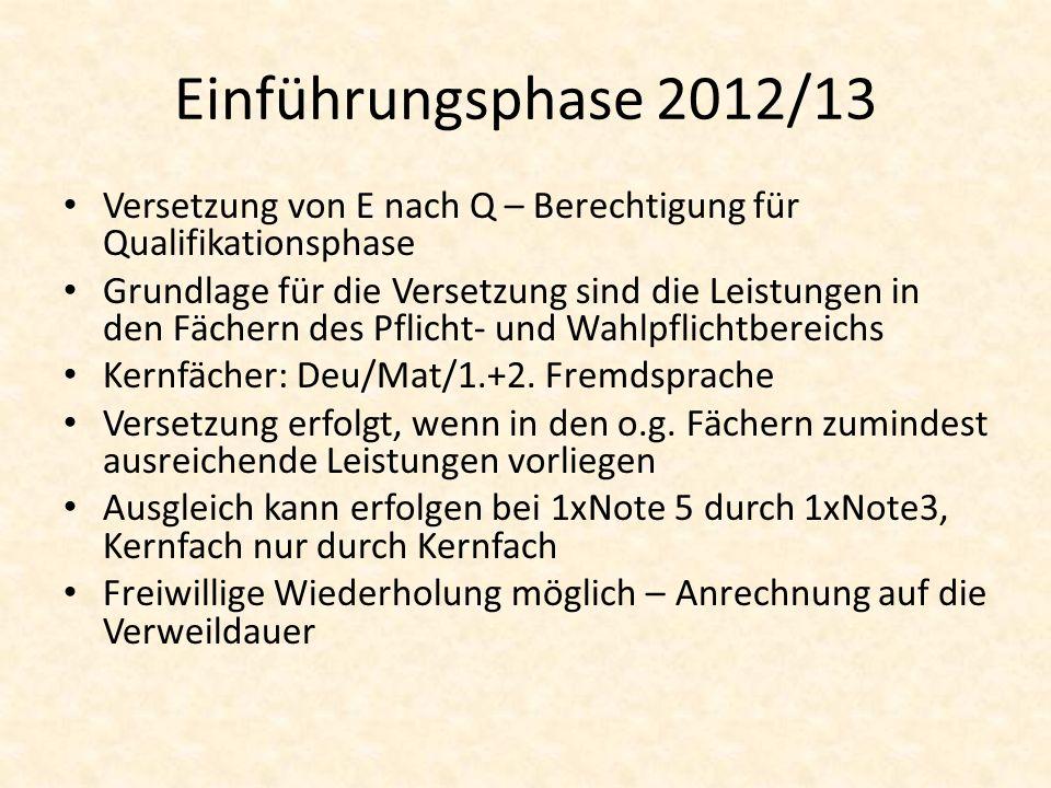 Einführungsphase 2012/13 Versetzung von E nach Q – Berechtigung für Qualifikationsphase Grundlage für die Versetzung sind die Leistungen in den Fächer