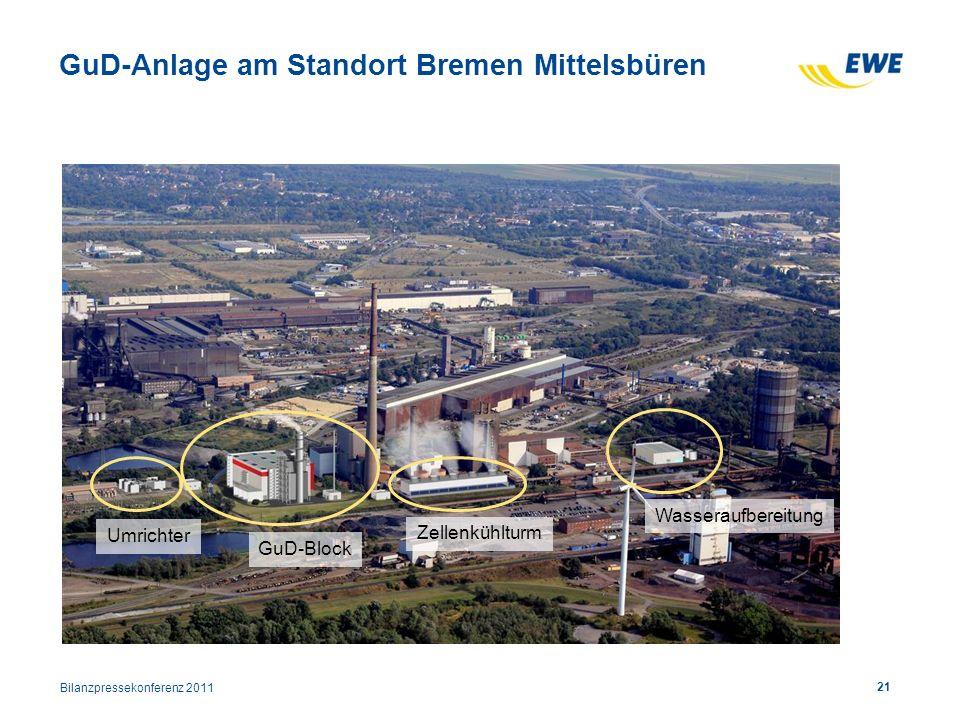 21 GuD-Anlage am Standort Bremen Mittelsbüren Wasseraufbereitung GuD-Block Umrichter Zellenkühlturm Bilanzpressekonferenz 2011
