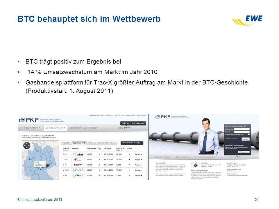 Bilanzpressekonferenz 201131 BTC behauptet sich im Wettbewerb BTC trägt positiv zum Ergebnis bei 14 % Umsatzwachstum am Markt im Jahr 2010 Gashandelsp