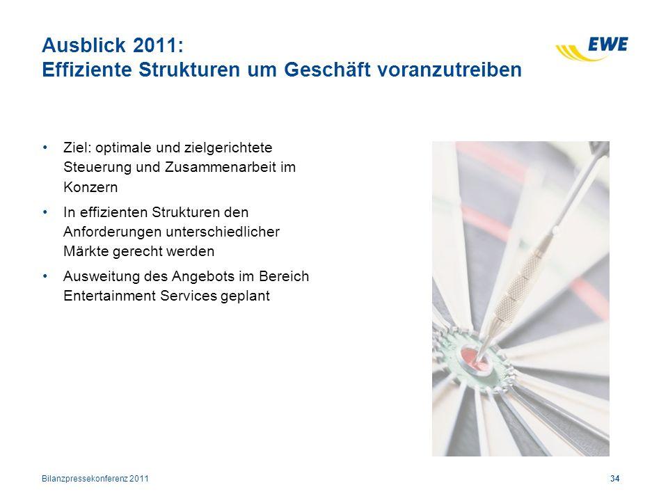34 Ausblick 2011: Effiziente Strukturen um Geschäft voranzutreiben Ziel: optimale und zielgerichtete Steuerung und Zusammenarbeit im Konzern In effizi