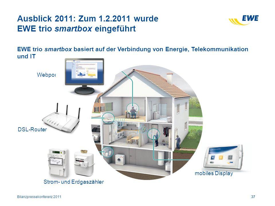 Ausblick 2011: Zum 1.2.2011 wurde EWE trio smartbox eingeführt Webportal DSL-Router Strom- und Erdgaszähler mobiles Display 37 EWE trio smartbox basie