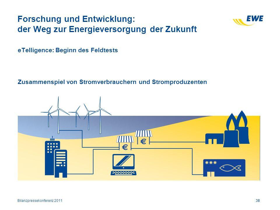 eTelligence: Beginn des Feldtests Zusammenspiel von Stromverbrauchern und Stromproduzenten 38 Forschung und Entwicklung: der Weg zur Energieversorgung