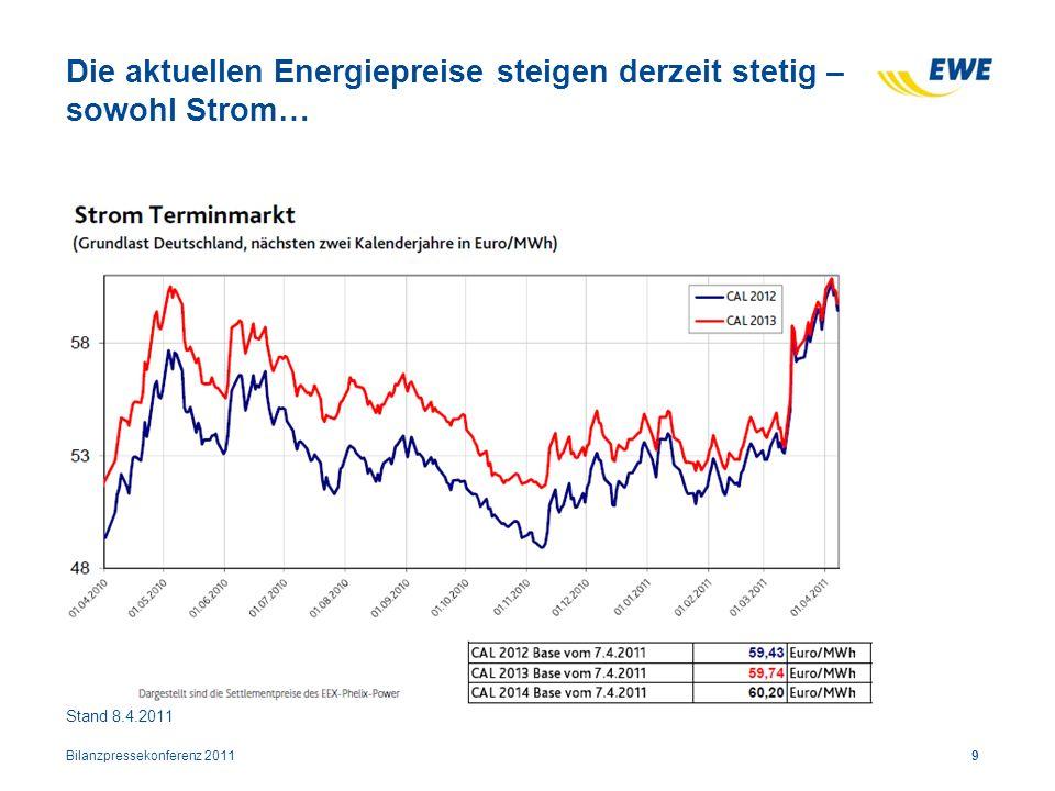 Die aktuellen Energiepreise steigen derzeit stetig – sowohl Strom… Bilanzpressekonferenz 20119 Stand 8.4.2011
