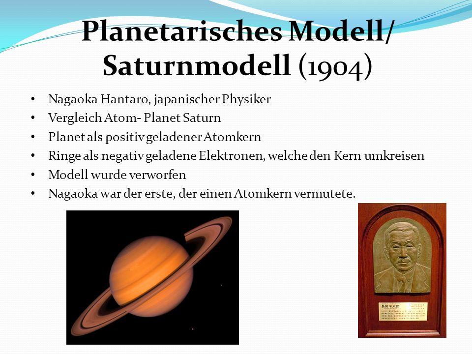 Planetarisches Modell/ Saturnmodell (1904) Nagaoka Hantaro, japanischer Physiker Vergleich Atom- Planet Saturn Planet als positiv geladener Atomkern R