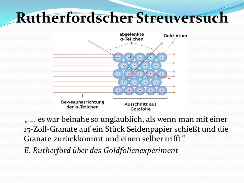 Rutherfordscher Streuversuch … es war beinahe so unglaublich, als wenn man mit einer 15-Zoll-Granate auf ein Stück Seidenpapier schießt und die Granat