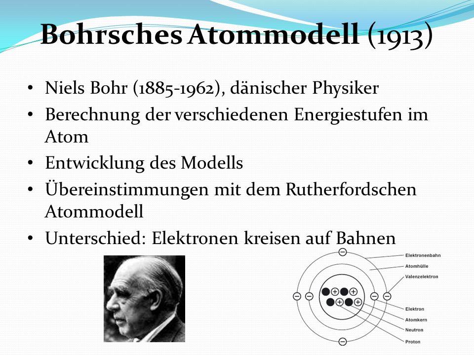 Bohrsches Atommodell (1913) Niels Bohr (1885-1962), dänischer Physiker Berechnung der verschiedenen Energiestufen im Atom Entwicklung des Modells Über