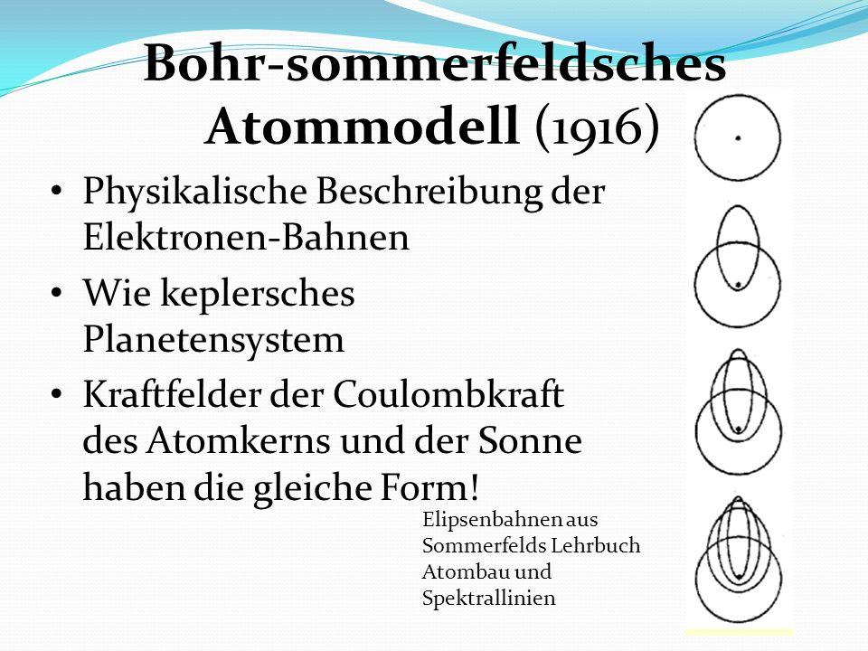 Bohr-sommerfeldsches Atommodell (1916) Physikalische Beschreibung der Elektronen-Bahnen Wie keplersches Planetensystem Kraftfelder der Coulombkraft de