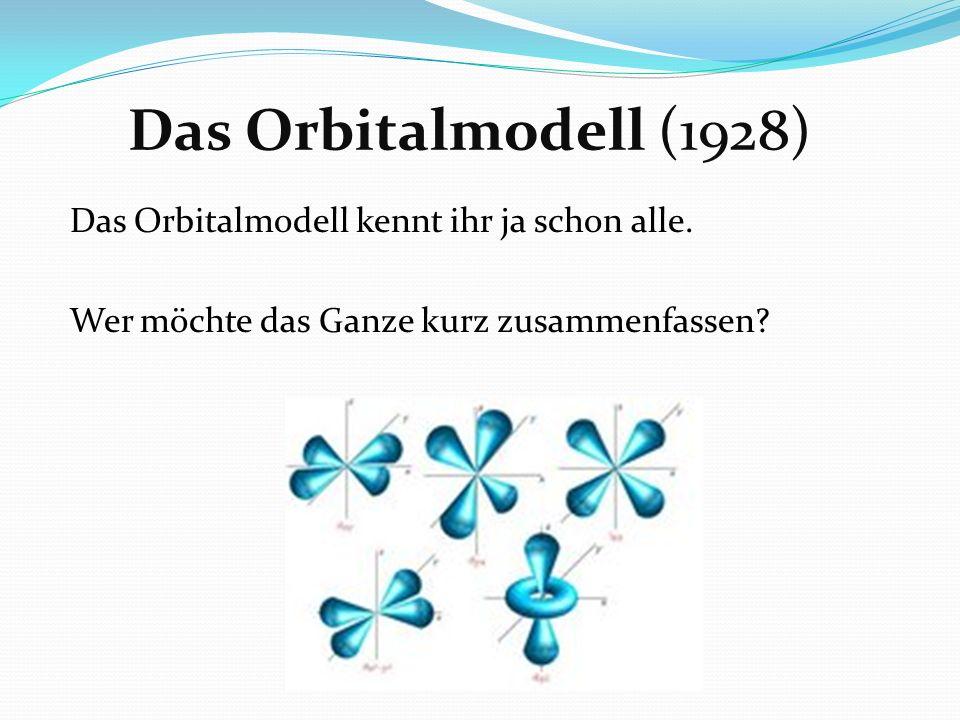 Das Orbitalmodell (1928) Das Orbitalmodell kennt ihr ja schon alle. Wer möchte das Ganze kurz zusammenfassen?