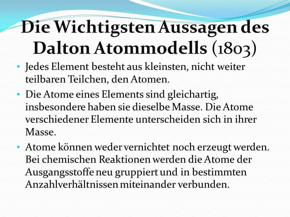 Die Wichtigsten Aussagen des Dalton Atommodells (1803) Jedes Element besteht aus kleinsten, nicht weiter teilbaren Teilchen, den Atomen. Die Atome ein