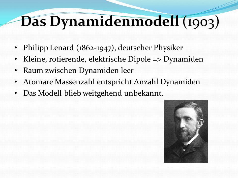 Das Dynamidenmodell (1903) Philipp Lenard (1862-1947), deutscher Physiker Kleine, rotierende, elektrische Dipole => Dynamiden Raum zwischen Dynamiden