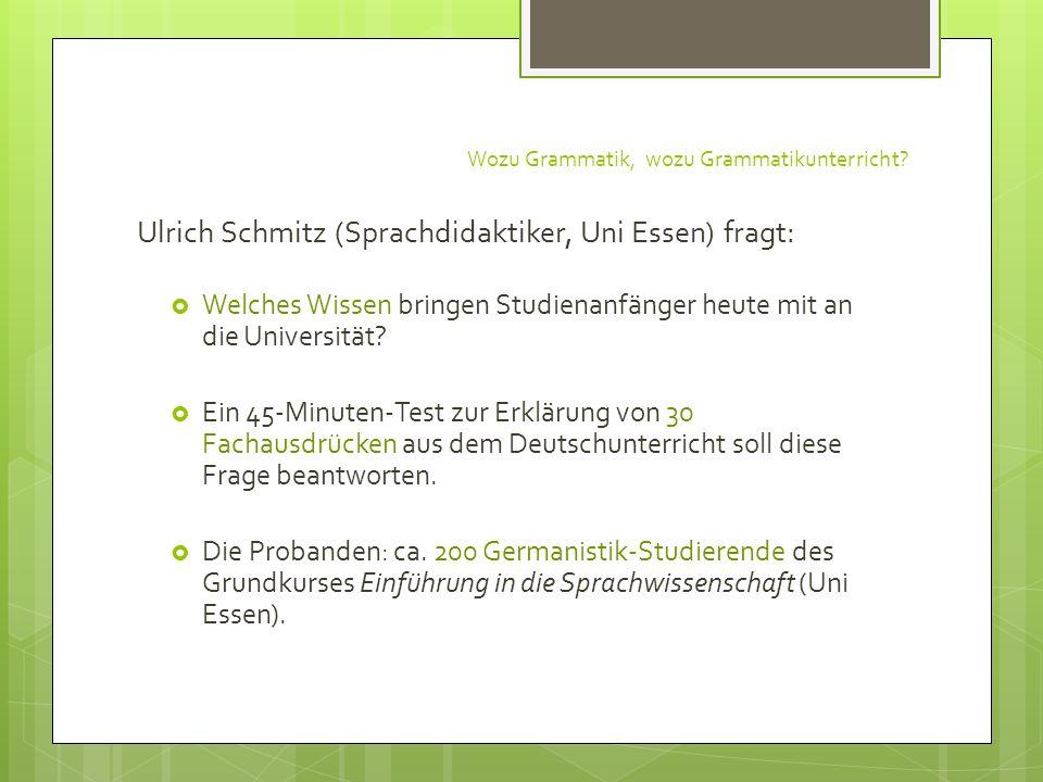 Wozu Grammatik, wozu Grammatikunterricht? Ulrich Schmitz (Sprachdidaktiker, Uni Essen) fragt: Welches Wissen bringen Studienanfänger heute mit an die