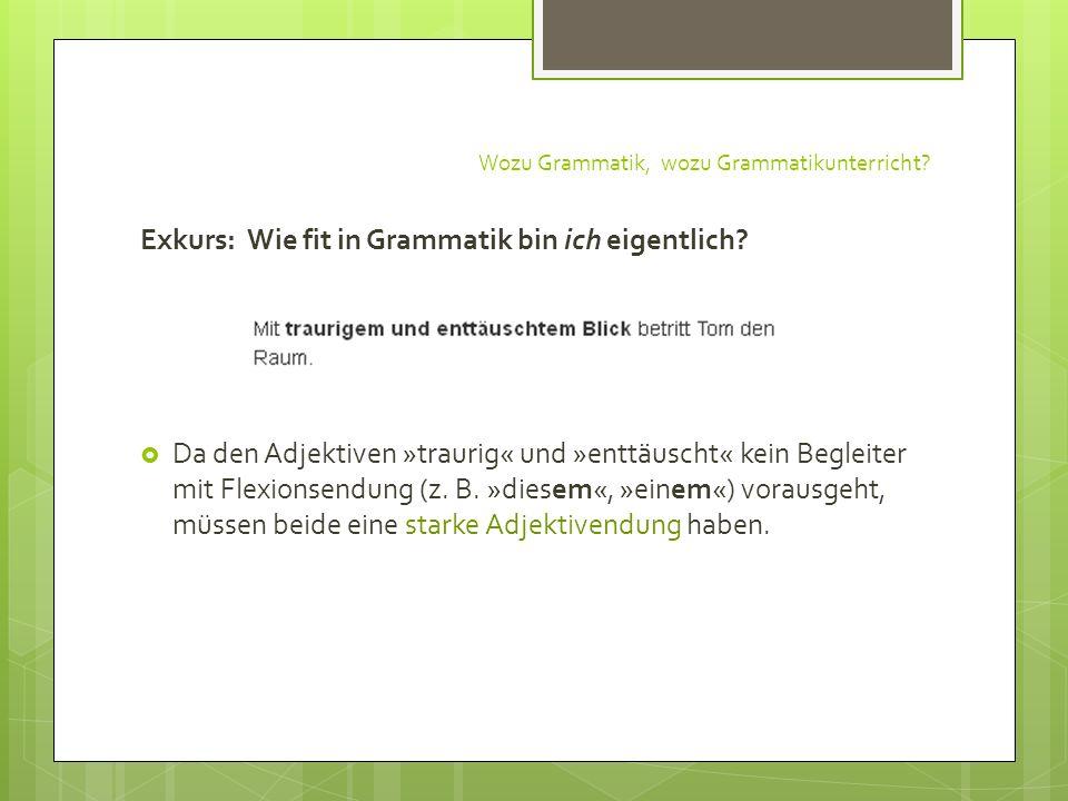 Wozu Grammatik, wozu Grammatikunterricht? Exkurs: Wie fit in Grammatik bin ich eigentlich? Da den Adjektiven »traurig« und »enttäuscht« kein Begleiter