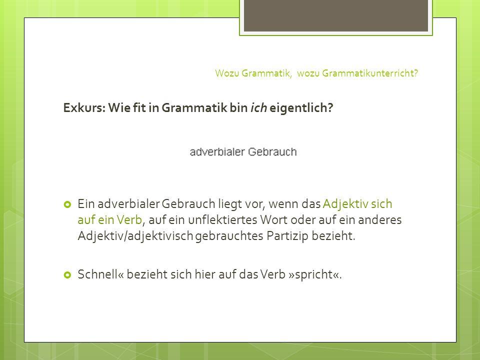 Wozu Grammatik, wozu Grammatikunterricht? Exkurs: Wie fit in Grammatik bin ich eigentlich? Ein adverbialer Gebrauch liegt vor, wenn das Adjektiv sich