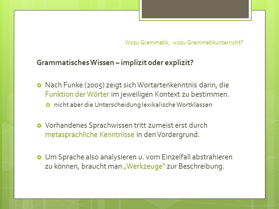Wozu Grammatik, wozu Grammatikunterricht? Grammatisches Wissen – implizit oder explizit? Nach Funke (2005) zeigt sich Wortartenkenntnis darin, die Fun
