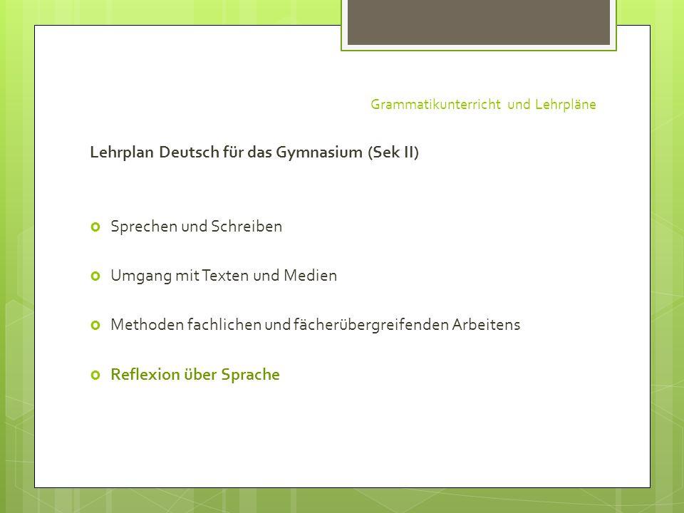 Grammatikunterricht und Lehrpläne Lehrplan Deutsch für das Gymnasium (Sek II) Sprechen und Schreiben Umgang mit Texten und Medien Methoden fachlichen