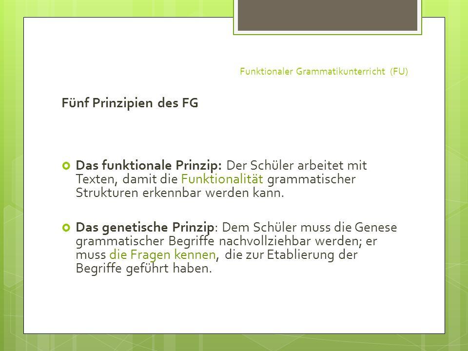 Funktionaler Grammatikunterricht (FU) Fünf Prinzipien des FG Das funktionale Prinzip: Der Schüler arbeitet mit Texten, damit die Funktionalität gramma