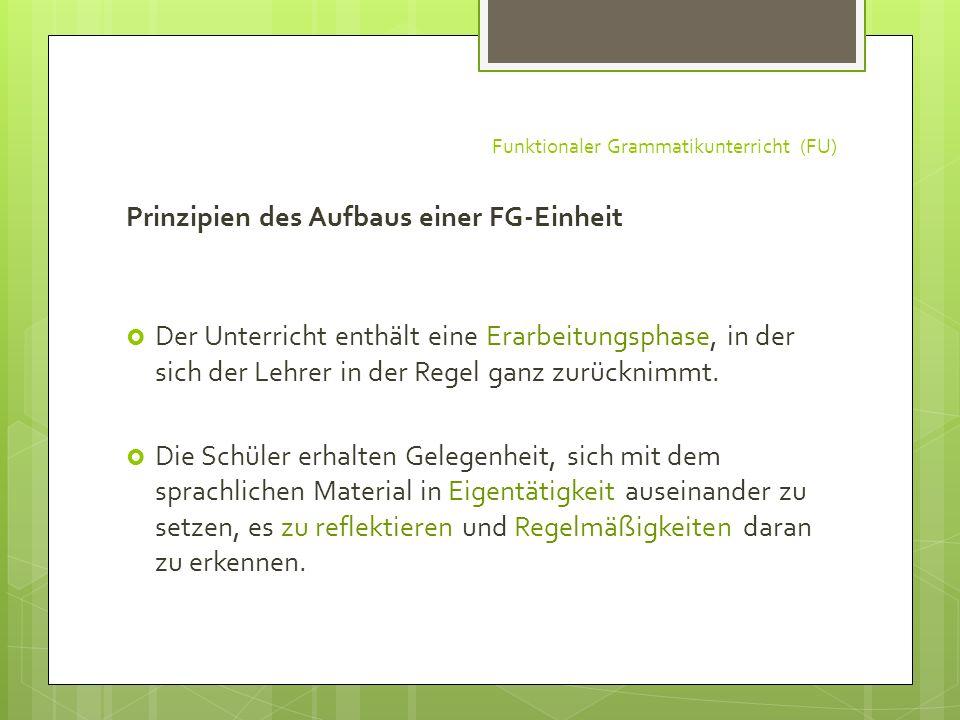 Funktionaler Grammatikunterricht (FU) Prinzipien des Aufbaus einer FG-Einheit Der Unterricht enthält eine Erarbeitungsphase, in der sich der Lehrer in