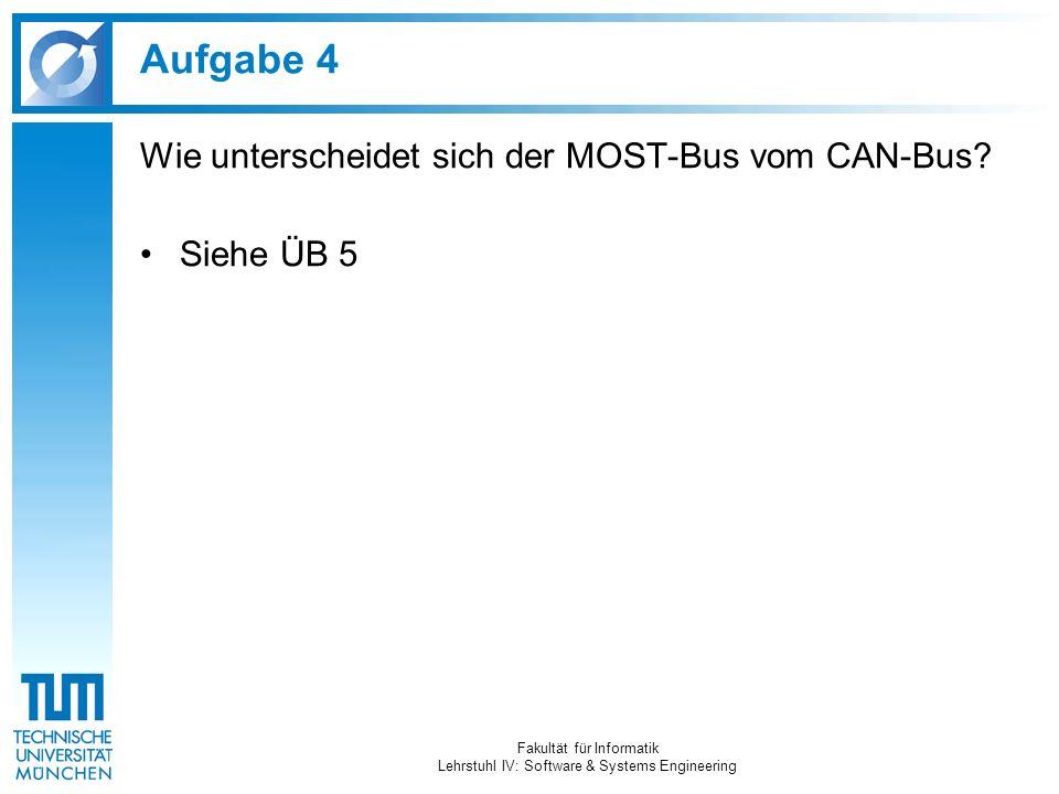 Aufgabe 4 Wie unterscheidet sich der MOST-Bus vom CAN-Bus? Siehe ÜB 5 Fakultät für Informatik Lehrstuhl IV: Software & Systems Engineering