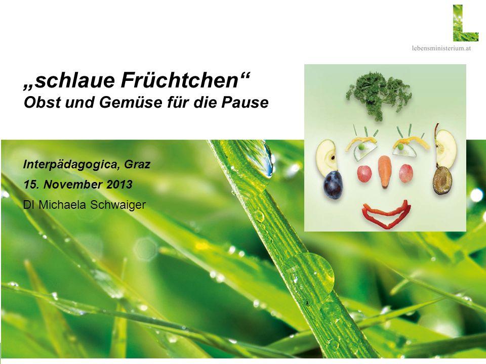 schlaue Früchtchen Obst und Gemüse für die Pause Interpädagogica, Graz 15. November 2013 DI Michaela Schwaiger