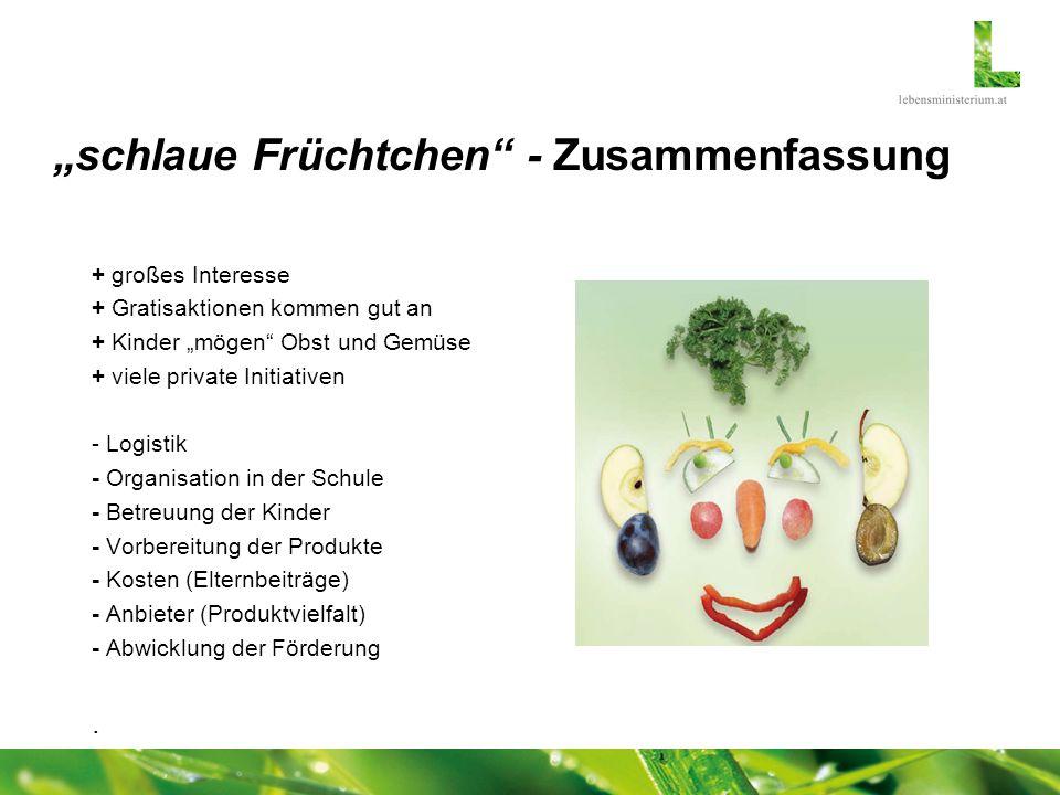 schlaue Früchtchen - Zusammenfassung + großes Interesse + Gratisaktionen kommen gut an + Kinder mögen Obst und Gemüse + viele private Initiativen - Lo
