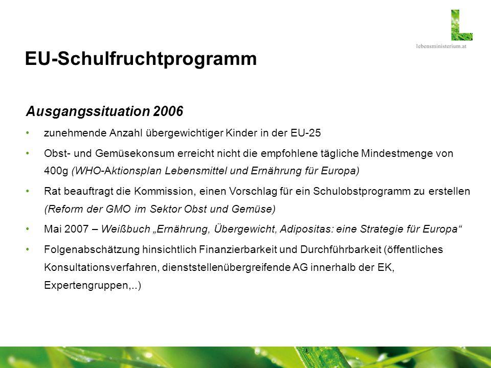 EU-Schulfruchtprogramm Rechtsgrundlage Politische Einigung im Rat Landwirtschaft (November 2008) über ein europaweites Programm zur Abgabe von Obst und Gemüse an Schulkinder European School- Fruit-Scheme 90 Mio.