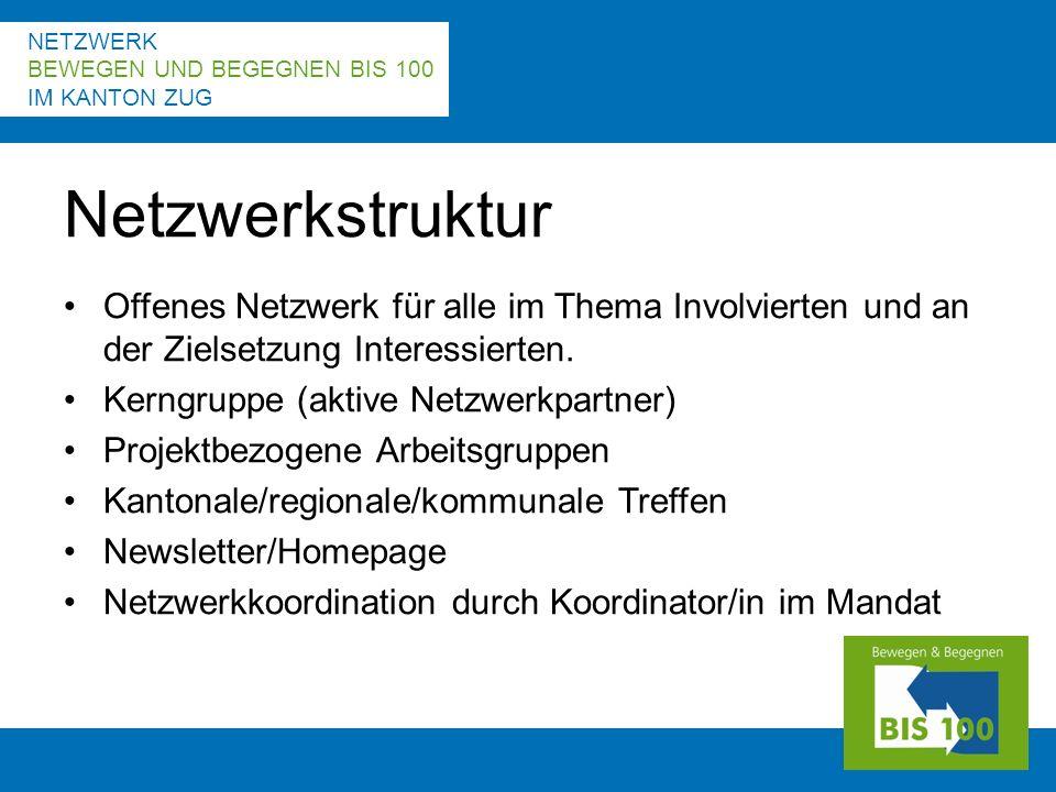 NETZWERK BEWEGEN UND BEGEGNEN BIS 100 IM KANTON ZUG Offenes Netzwerk für alle im Thema Involvierten und an der Zielsetzung Interessierten.