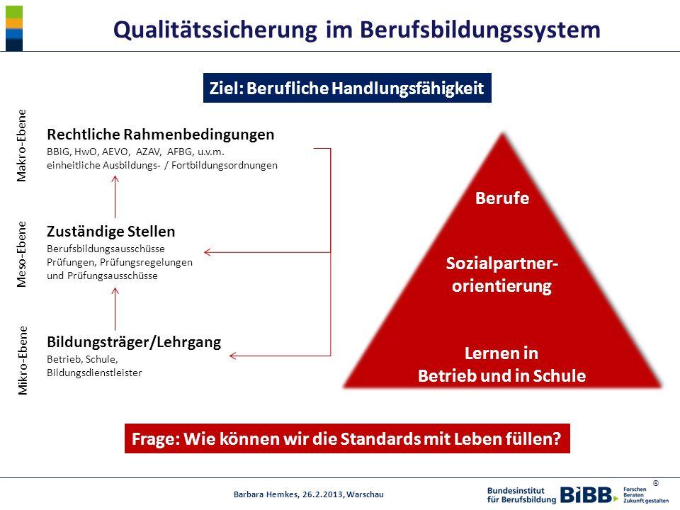 ® Qualitätssicherung im Berufsbildungssystem Frage: Wie können wir die Standards mit Leben füllen? Ziel: Berufliche Handlungsfähigkeit Barbara Hemkes,