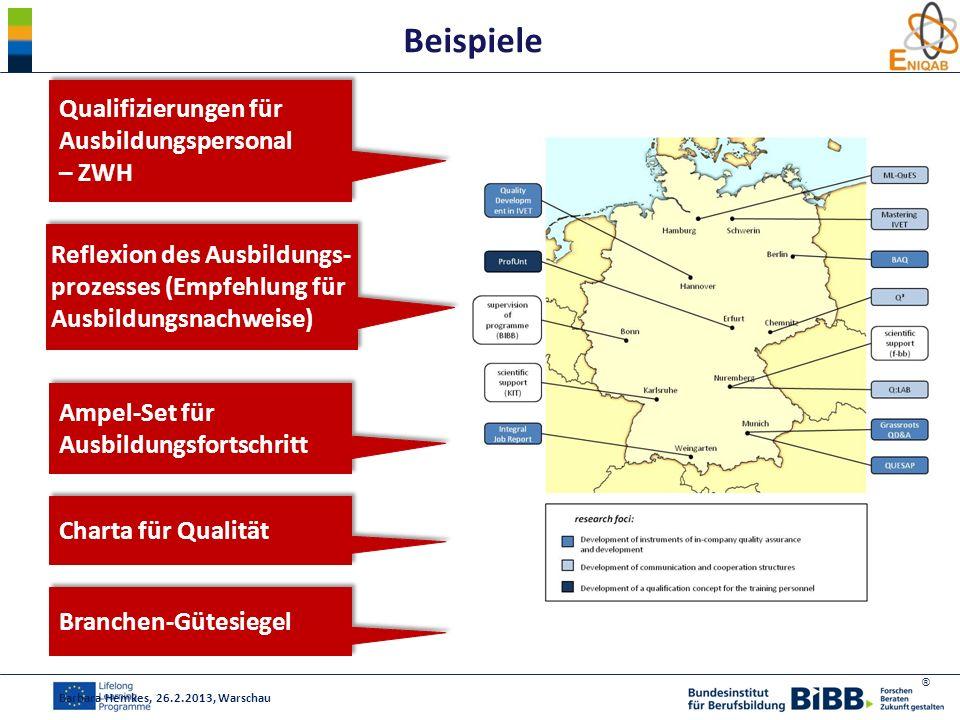 ® Beispiele Barbara Hemkes, 26.2.2013, Warschau Qualifizierungen für Ausbildungspersonal – ZWH Reflexion des Ausbildungs- prozesses (Empfehlung für Au