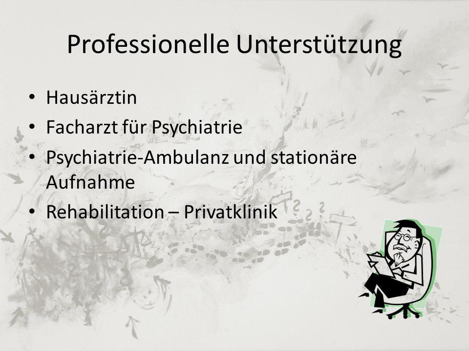 Professionelle Unterstützung Hausärztin Facharzt für Psychiatrie Psychiatrie-Ambulanz und stationäre Aufnahme Rehabilitation – Privatklinik