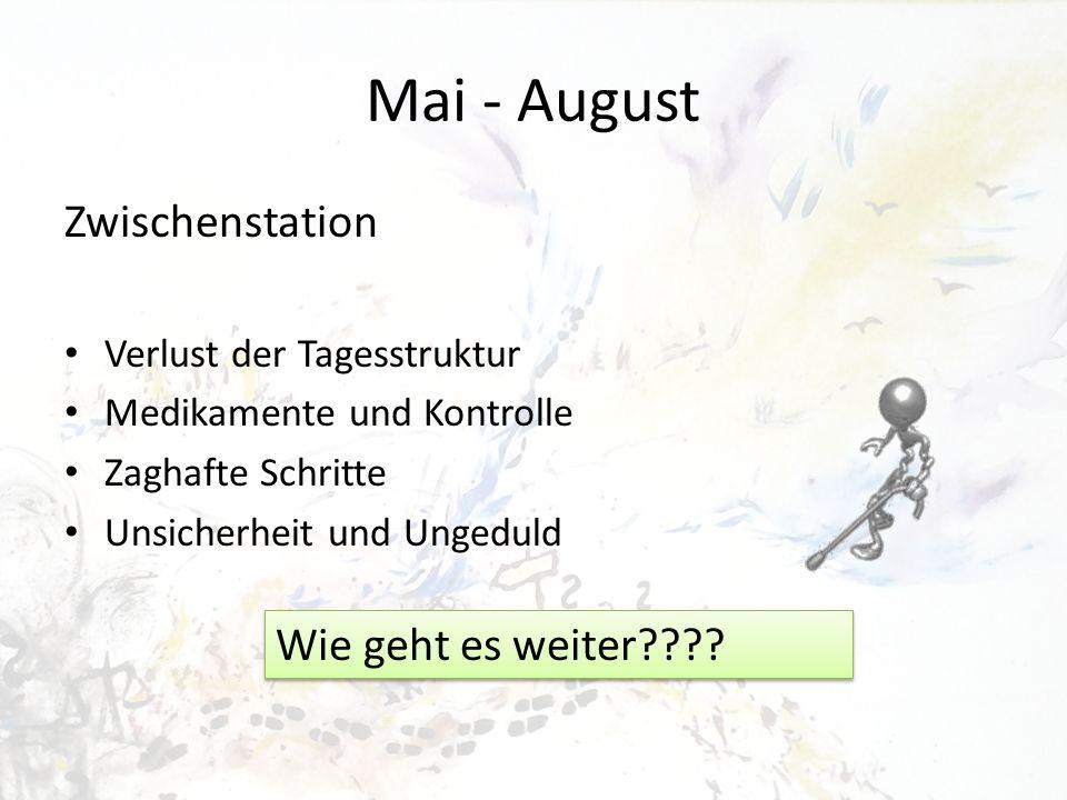 Mai - August Zwischenstation Verlust der Tagesstruktur Medikamente und Kontrolle Zaghafte Schritte Unsicherheit und Ungeduld Wie geht es weiter????