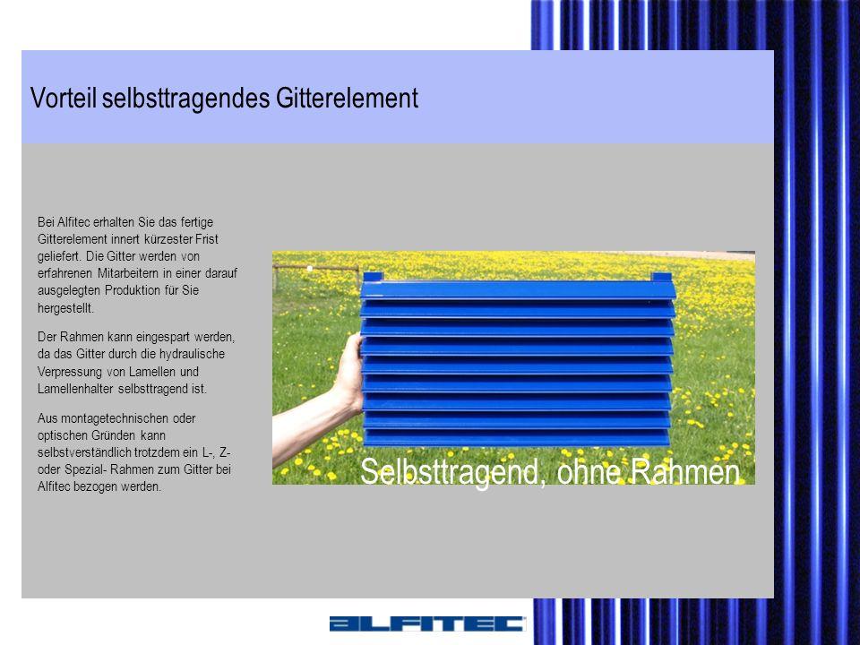 Vorteil selbsttragendes Gitterelement Bei Alfitec erhalten Sie das fertige Gitterelement innert kürzester Frist geliefert. Die Gitter werden von erfah