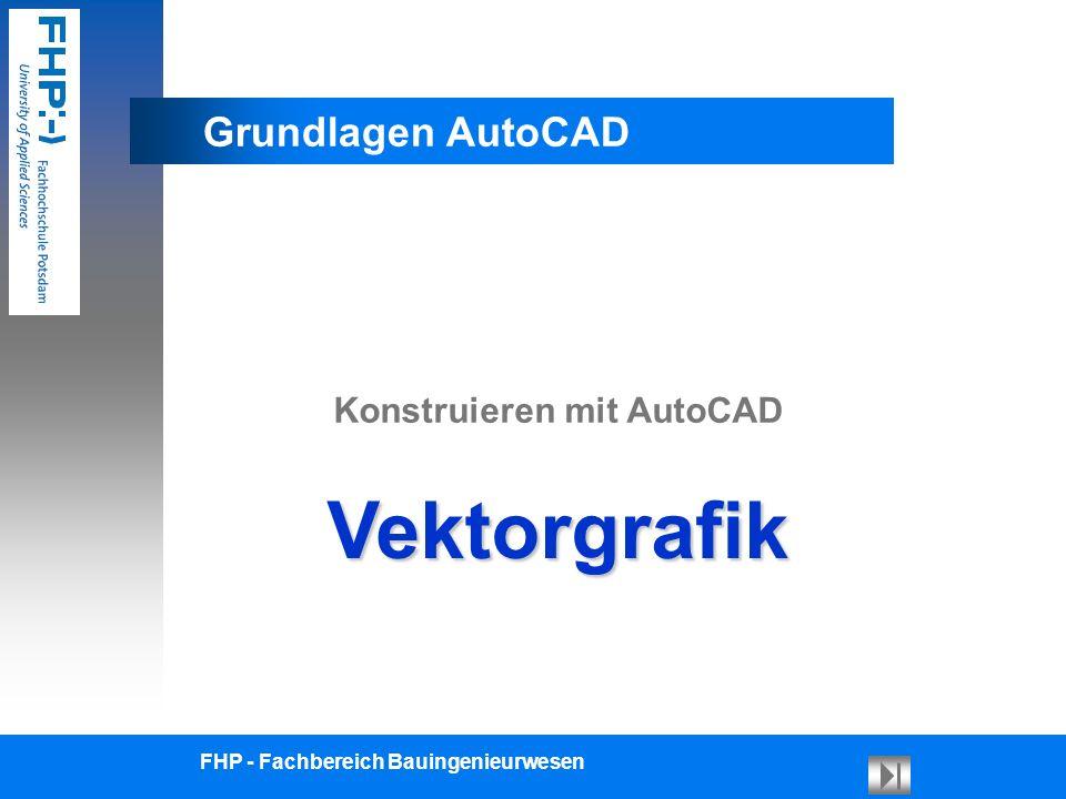 Grundlagen CAD Vektorgrafik Allgemein3D-VolumenTypen 3D-Draht 3D-Fläche FHP - Fachbereich Bauingenieurwesen Seite: 2/14 Grafik-Typen Vektor-BildPixel-Bild Besteht aus Zeichenbefehlen ( z.B.