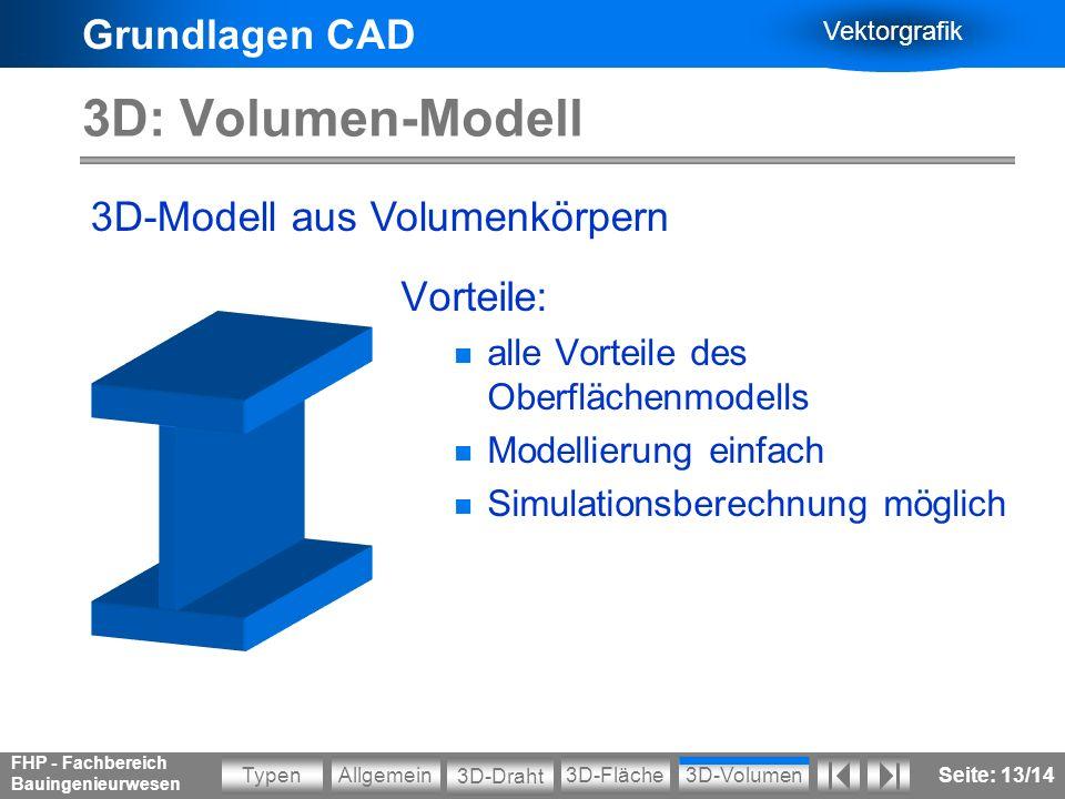 Grundlagen CAD Vektorgrafik Allgemein3D-VolumenTypen 3D-Draht 3D-Fläche FHP - Fachbereich Bauingenieurwesen Seite: 13/14 3D: Volumen-Modell Vorteile: