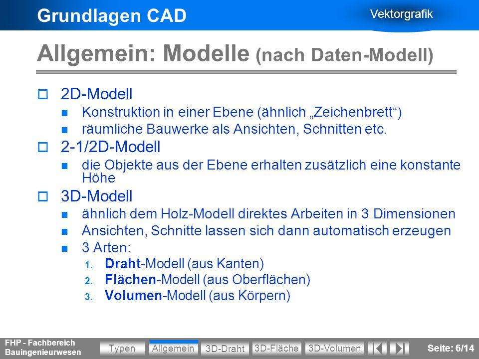 Grundlagen CAD Vektorgrafik Allgemein3D-VolumenTypen 3D-Draht 3D-Fläche FHP - Fachbereich Bauingenieurwesen Seite: 7/14 Allgemein: 3D-Modelle DrahtOberflächenVolumen Vergleich der Modelle am Beispiel von Schnitten: Informationsverlust.