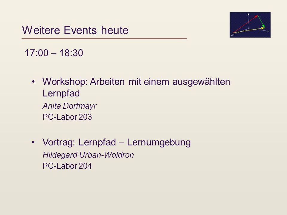Weitere Events heute Workshop: Arbeiten mit einem ausgewählten Lernpfad Anita Dorfmayr PC-Labor 203 Vortrag: Lernpfad – Lernumgebung Hildegard Urban-W