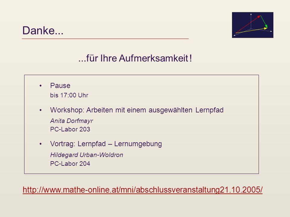 Danke......für Ihre Aufmerksamkeit ! Pause bis 17:00 Uhr Workshop: Arbeiten mit einem ausgewählten Lernpfad Anita Dorfmayr PC-Labor 203 Vortrag: Lernp