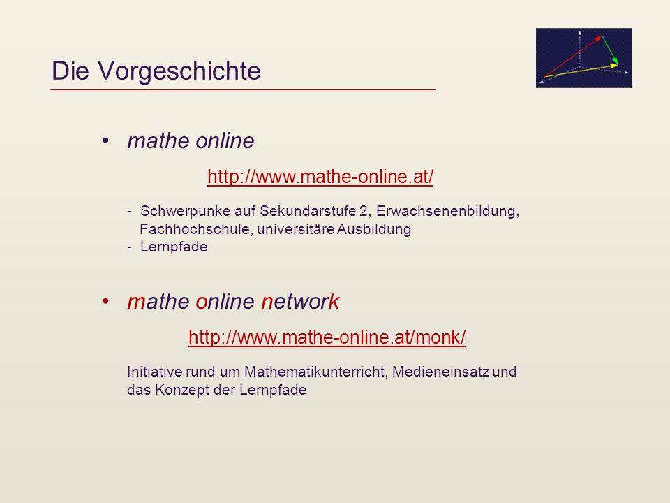 Der Projektverbund mathe online network – Erweiterung auf Sek 1 im Schuljahr 2004/5 unterstützt vom MNI-Fonds (IMST3) Ziele: Innovativer Medieneinsatz und eigenverantwortliches Arbeiten in der Sek 1 (AHS Unterstufe, Hauptschule), Entwicklung und Testung von Materialien (v.