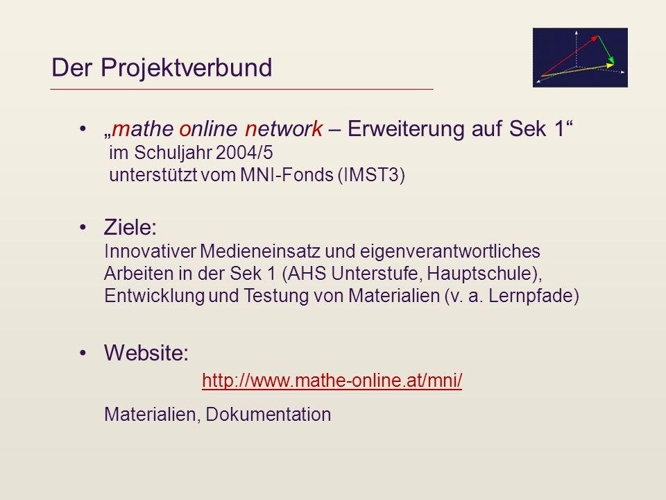Der Projektverbund mathe online network – Erweiterung auf Sek 1 im Schuljahr 2004/5 unterstützt vom MNI-Fonds (IMST3) Ziele: Innovativer Medieneinsatz