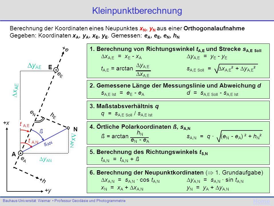 Bauhaus-Universität Weimar Professur Geodäsie und Photogrammetrie Home t A,N y AN x AN s AN ß t A,E +x y AE x AE +y Kleinpunktberechnung Berechnung de