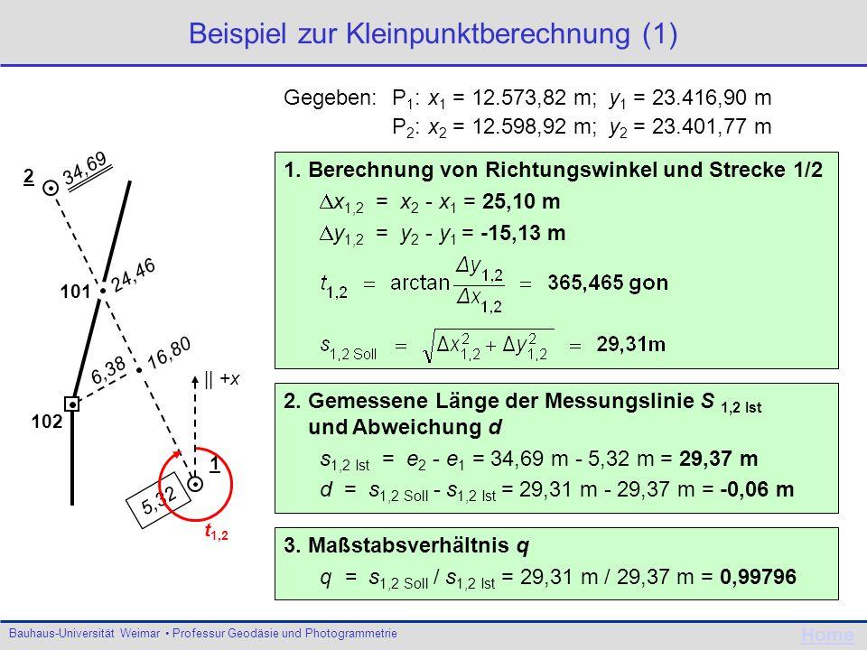Bauhaus-Universität Weimar Professur Geodäsie und Photogrammetrie Home Beispiel zur Kleinpunktberechnung (1) Gegeben: P 1 :x 1 = 12.573,82 m; y 1 = 23