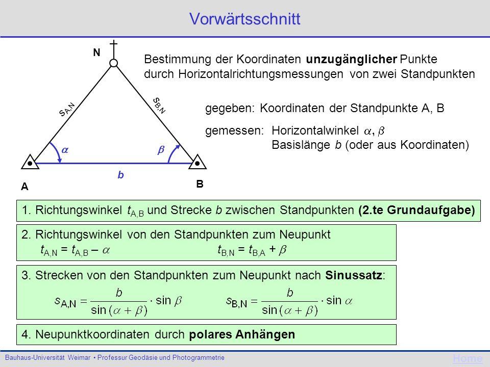 Bauhaus-Universität Weimar Professur Geodäsie und Photogrammetrie Home Vorwärtsschnitt A B N Bestimmung der Koordinaten unzugänglicher Punkte durch Ho