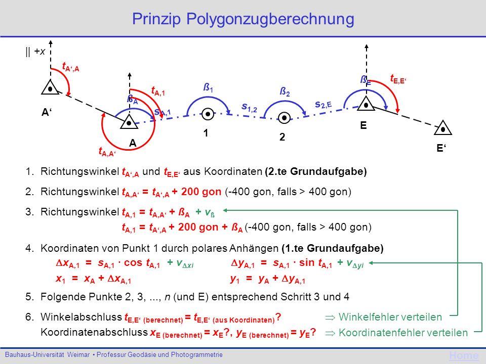 Bauhaus-Universität Weimar Professur Geodäsie und Photogrammetrie Home Prinzip Polygonzugberechnung 1. Richtungswinkel t A,A und t E,E aus Koordinaten