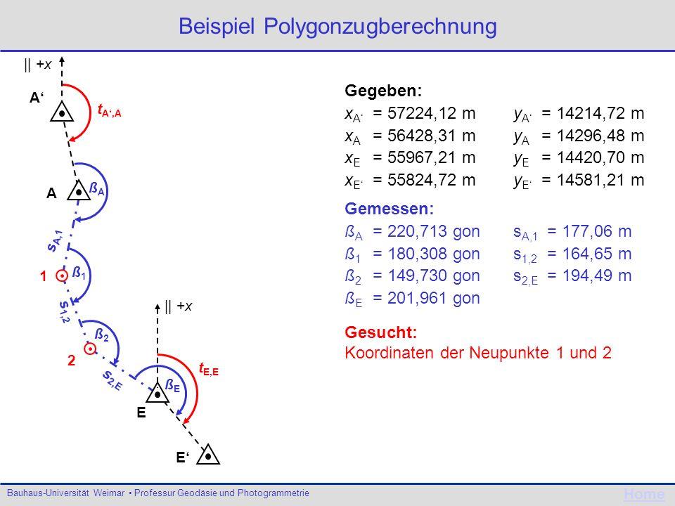 Bauhaus-Universität Weimar Professur Geodäsie und Photogrammetrie Home Beispiel Polygonzugberechnung A E E A 1 2 s 2,E s 1,2 s A,1 ßAßA ß1ß1 ß2ß2 ßEßE