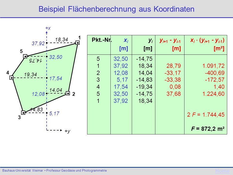 Bauhaus-Universität Weimar Professur Geodäsie und Photogrammetrie Home y i+1 - y i-1 x i (y i+1 - y i-1 ) [m][m²] 28,791.091,72 -33,17-400,69 -33,38-1