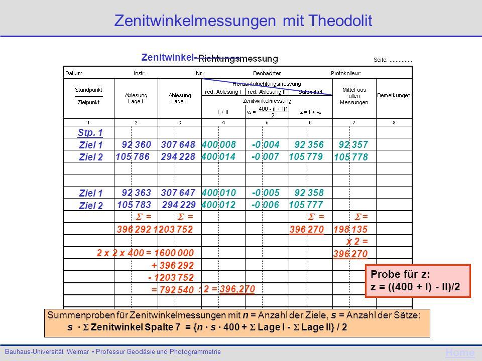 Bauhaus-Universität Weimar Professur Geodäsie und Photogrammetrie Home Zenitwinkelmessungen mit Theodolit 92 360307 648 92 358400 010-0 005 400 008-0