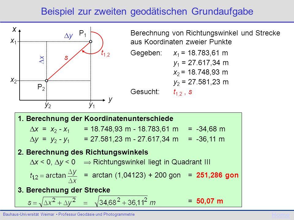 Bauhaus-Universität Weimar Professur Geodäsie und Photogrammetrie Home Beispiel zur zweiten geodätischen Grundaufgabe t 1,2 x y y1y1 x2x2 x1x1 y2y2 y