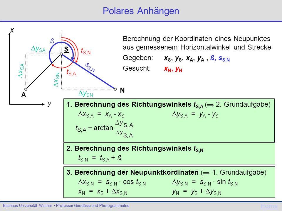 Bauhaus-Universität Weimar Professur Geodäsie und Photogrammetrie Home t A,N y AN x AN s AN ß t A,E +x y AE x AE +y Kleinpunktberechnung Berechnung der Koordinaten eines Neupunktes x N, y N aus einer Orthogonalaufnahme Gegeben: Koordinaten x A, y A, x E, y E.